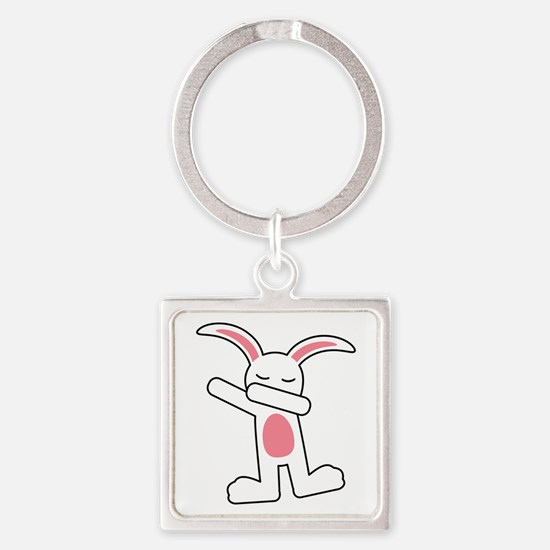 Dabbing Bunny Square Keychain