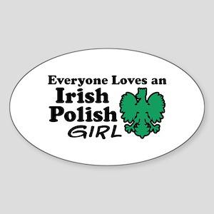 Irish Polish Girl Oval Sticker
