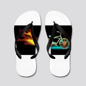 Bike flame blue Flip Flops