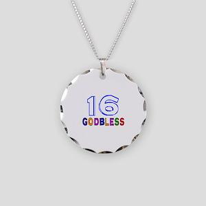 16 God Bless Birthday Design Necklace Circle Charm