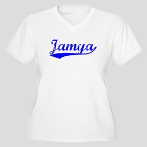 Vintage Jamya (Blue) Women's Plus Size V-Neck T-Sh