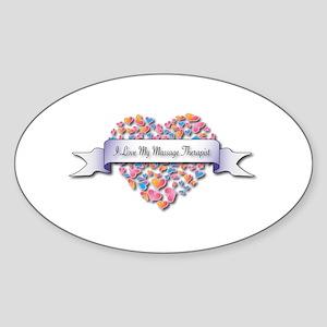 Love My Massage Therapist Oval Sticker