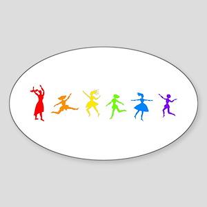 Dancing Women Oval Sticker
