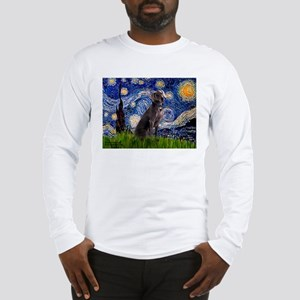 Starry Night & Weimaraner Long Sleeve T-Shirt