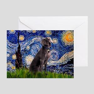 Starry Night & Weimaraner Greeting Cards (Pk of 1