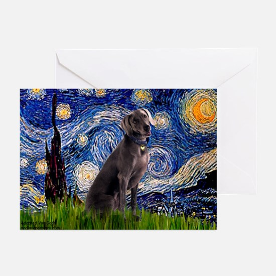 Starry Night & Weimaraner Greeting Cards (Pk of 1
