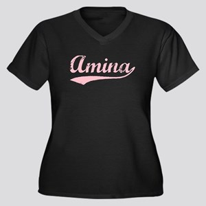 Vintage Amina (Pink) Women's Plus Size V-Neck Dark