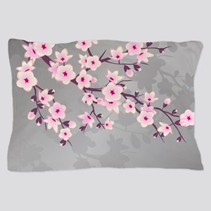 Pink Gray Shimmering Cherry Blossom Pillow Case