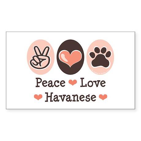 Peace Love Havanese Rectangle Sticker