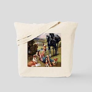 Horses & Puppies Tote Bag