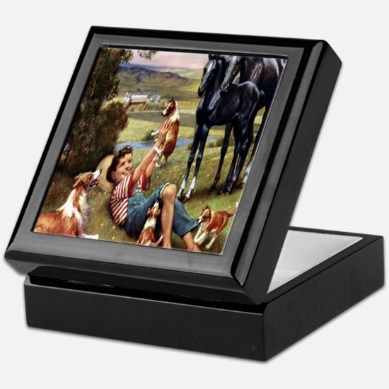 Horses & Puppies Keepsake Box