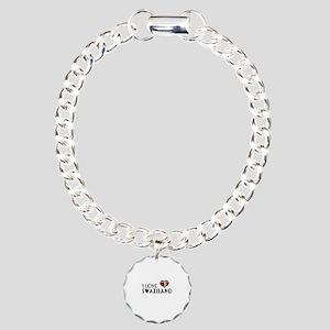 I Love Swaziland Charm Bracelet, One Charm