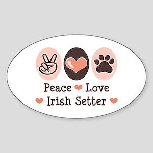 Peace Love Irish Setter Oval Sticker