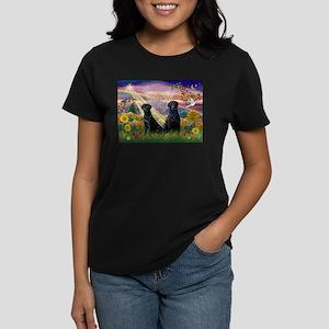 Autumn Angel & Black Labrador Women's Dark T-Shir