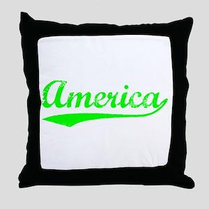 Vintage America (Green) Throw Pillow