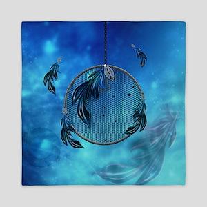 Dreamcatcher in blue colors Queen Duvet