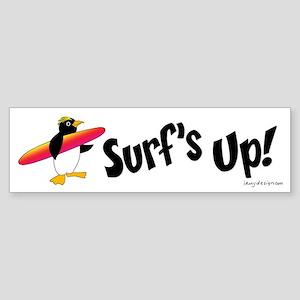 Surf's Up! Penguin Bumper Sticker