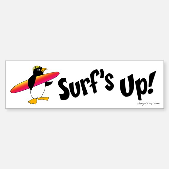 Surf's Up! Penguin Bumper Bumper Bumper Sticker