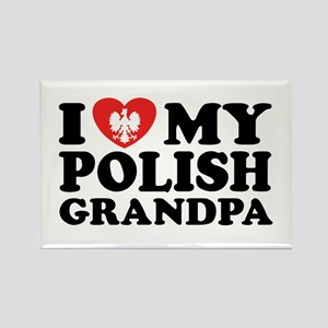 I Love My Polish Grandpa Rectangle Magnet