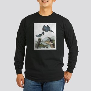 Kingfisher (Front only) Long Sleeve Dark T-Shirt