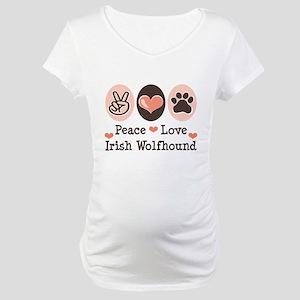 Peace Love Irish Wolfhound Maternity T-Shirt