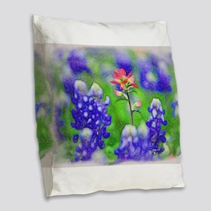 Bluebonnets and Indian Paintbr Burlap Throw Pillow
