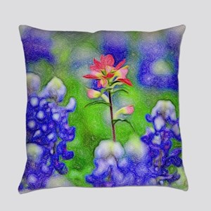 Bluebonnets and Indian Paintbrush Everyday Pillow
