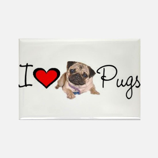 I Love Pugs Rectangle Magnet