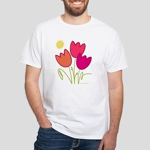Spring Tulips White T-Shirt
