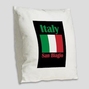San Biagio Italy Burlap Throw Pillow