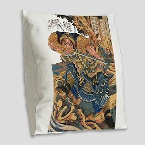 japanese martial arts samurai Burlap Throw Pillow