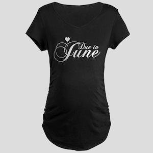 Due In June - Chopin Script Maternity Dark T-Shirt