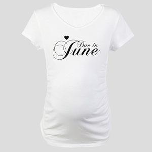 Due In June - Chopin Script Maternity T-Shirt