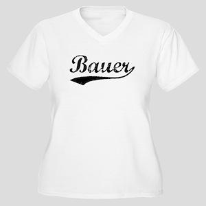 Vintage Bauer (Black) Women's Plus Size V-Neck T-S