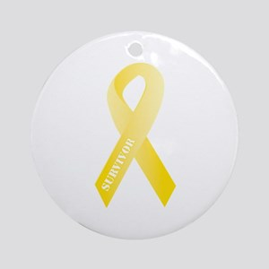 Yellow Ribbon Survivor Ornament (Round)