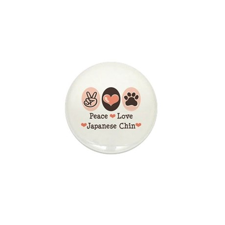 Peace Love Japanese Chin Mini Button (100 pack)