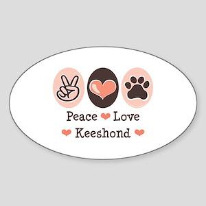 Peace Love Keeshond Oval Sticker
