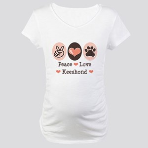 Peace Love Keeshond Maternity T-Shirt