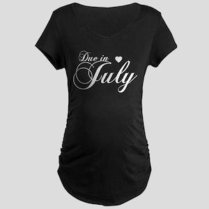 Due In July - Chopin Script Maternity Dark T-Shirt