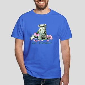 Schnauzer Flowers - Peonies! Dark T-Shirt