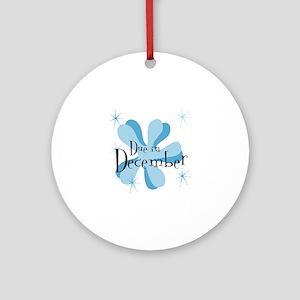 Due In December Retro Splat Ornament (Round)