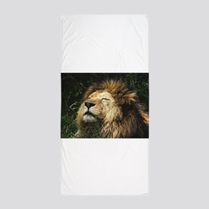 Lion Basking in the Sun Engraved Image Beach Towel