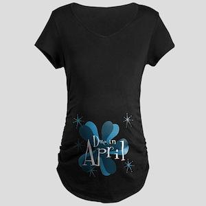 Due In April Retro Splat Maternity Dark T-Shirt