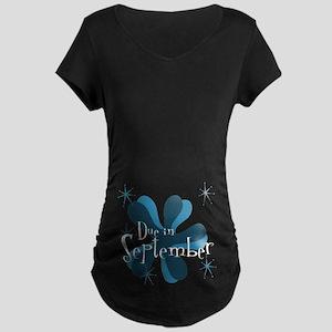 Due In September Retro Splat Maternity Dark T-Shir