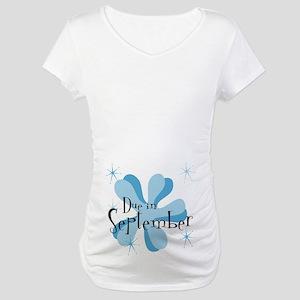 Due In September Retro Splat Maternity T-Shirt