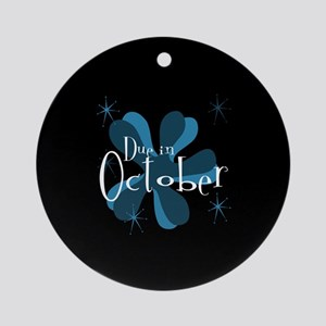 Due In October Retro Splat Ornament (Round)