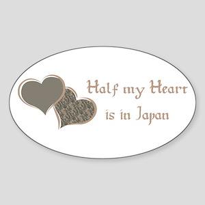 Half my Heart is in Japan Oval Sticker