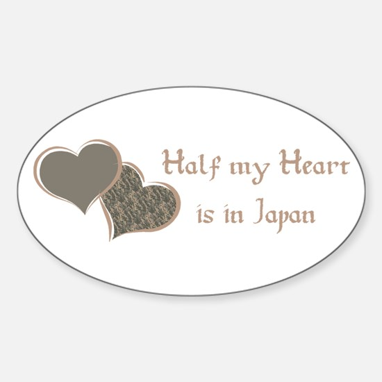 Half my Heart is in Japan Oval Decal