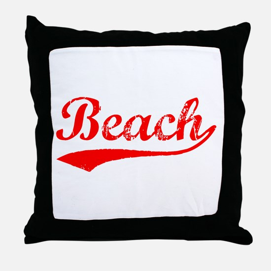 Vintage Beach (Red) Throw Pillow