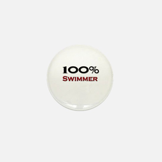 100 Percent Swimmer Mini Button